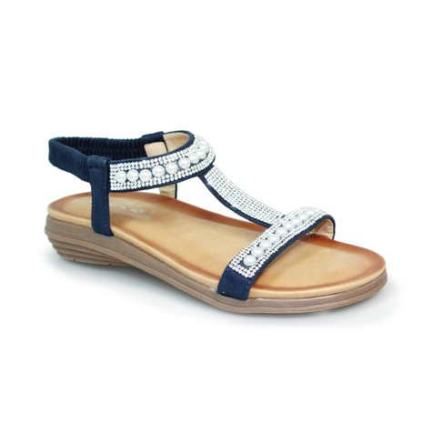 Lunar Blue T Strap Soft Sole Sandal