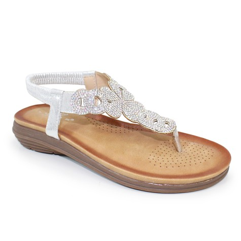 Lunar  Silver Toe Post Soft Sole Sandal