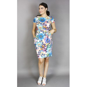Zapara Off White Floral Print Dress