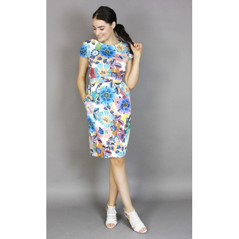 Zapara Off White Floral Print Dress