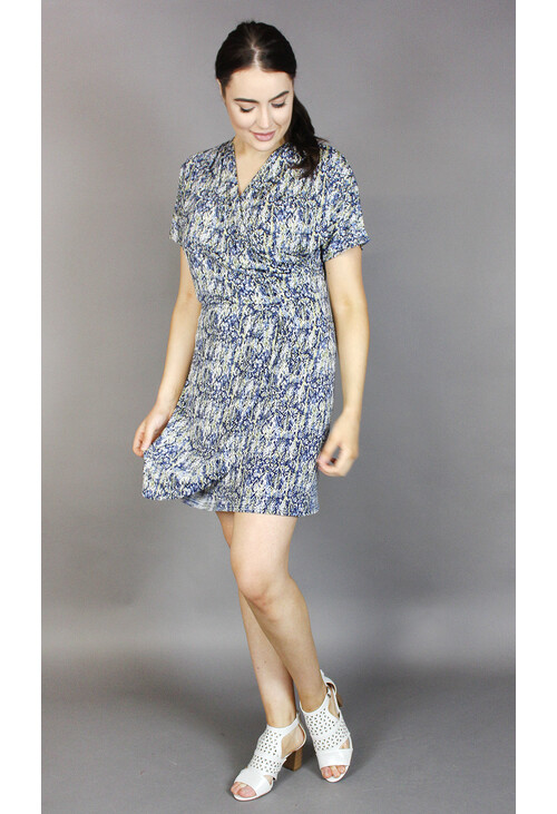 Zapara Yellow & Blue v-Neck Wrapped Dress
