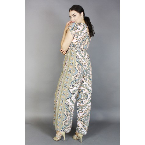 Donna Ricco Blush Paisley Print Jumpsuit