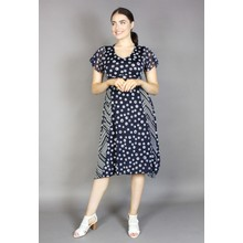 SophieB Navy & White Spiral Dots Print Dress