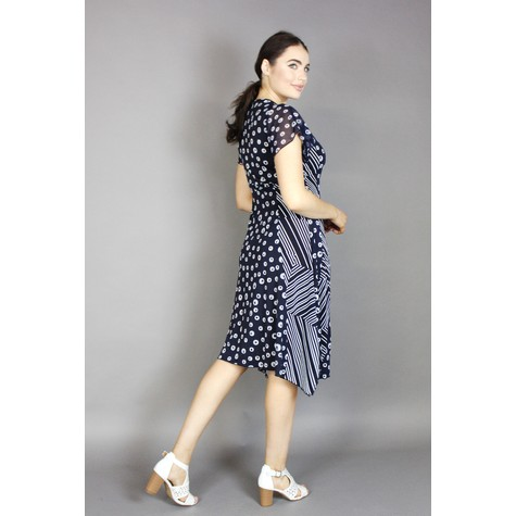 SophieB Navy & White Spiral Dots Print Dress