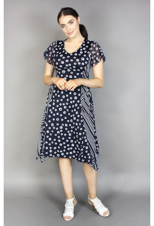 Sophie B Navy & White Spiral Dots Print Dress