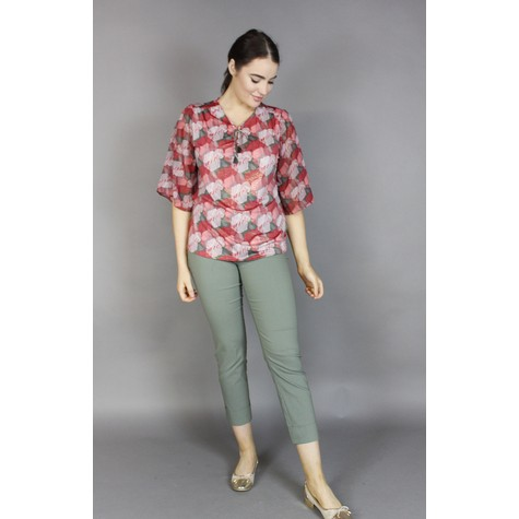 SophieB Red Neck Tie Detail Blouse