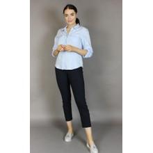 Twist Blue & White Strip Button Blouse