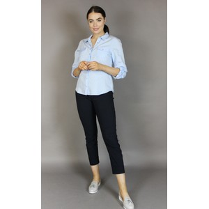 Twist Blue & White Strip Button Blouse