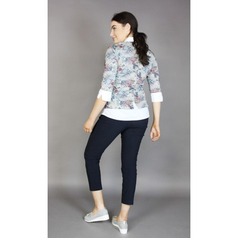 Twist Grey & Blue Floral 2 in 1 Knit