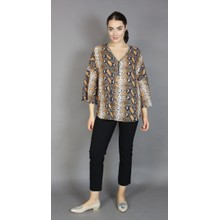 IOS Taupe Snake Print V-Neck Top