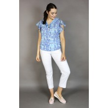 SophieB Blue Pattern Zip Neckline Detail Top