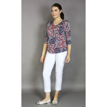 SophieB Red & Navy Pattern Mix Top