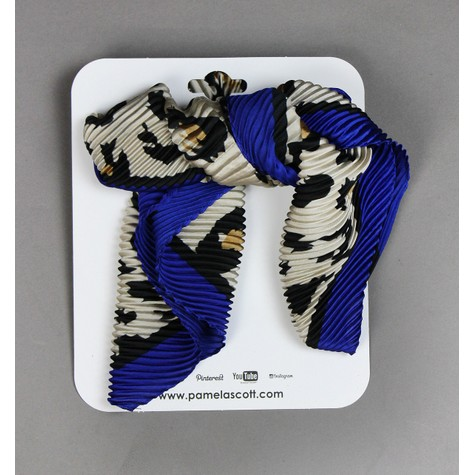 Pamela Scott Royal Blue & Beige Animal Print Scarf