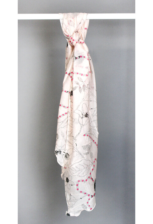 Best Angel Rose Faint Pattern Print Scarf