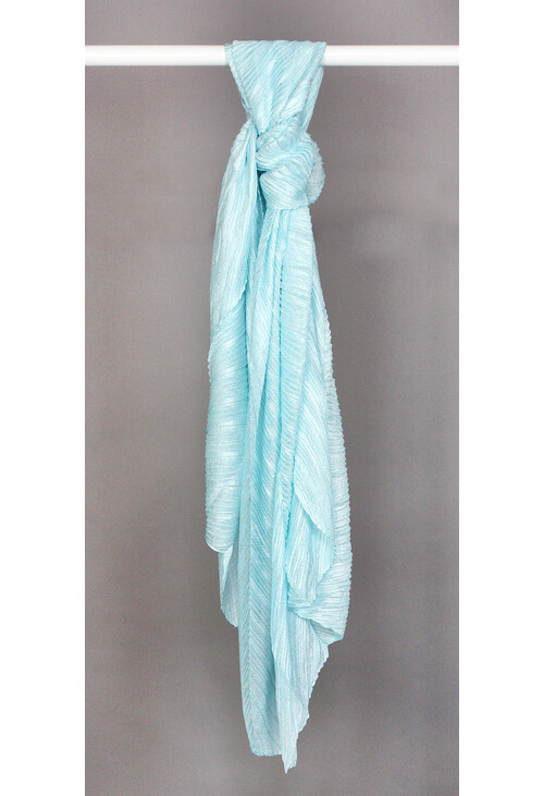 Pamela Scott Aqua Blue Shimmer Pleat Scarf