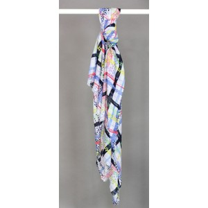Best Angel Blue & Yellow Check Patter Mix Print Scarf