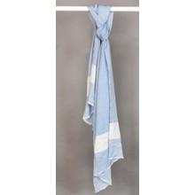 Pamela Scott Blue & Light Beige Pattern Lurex Scarf