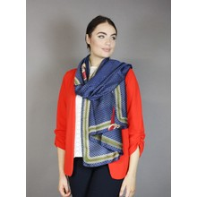 Pamela Scott Navy & Gold Trim Chain Pattern Scarf