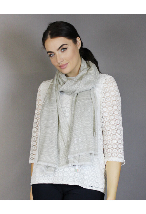 Pamela Scott Beige Mini Design Accessory Scarf