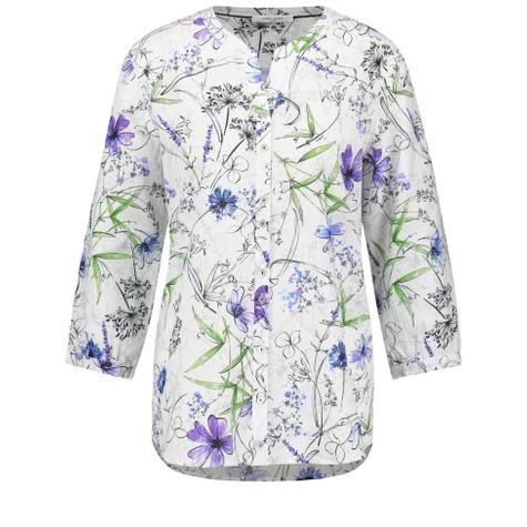 Gerry Weber White-Lavender-Navy Blue Floral Print Top
