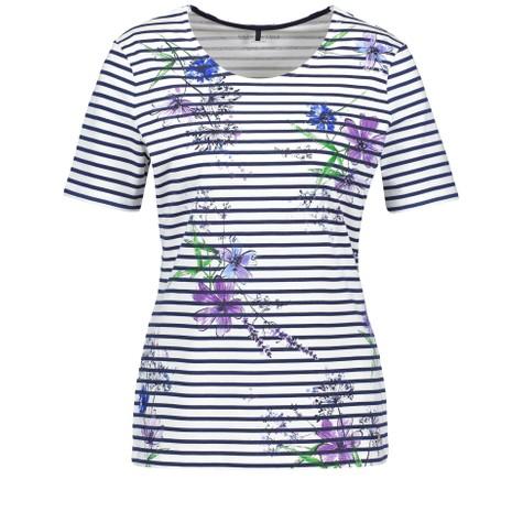 Gerry Weber Blue & Ecru Strip Floral Print Top