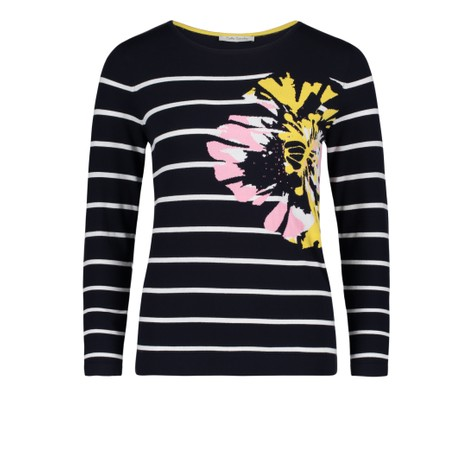 Betty Barclay Black White Strip Floral Pattern Knit