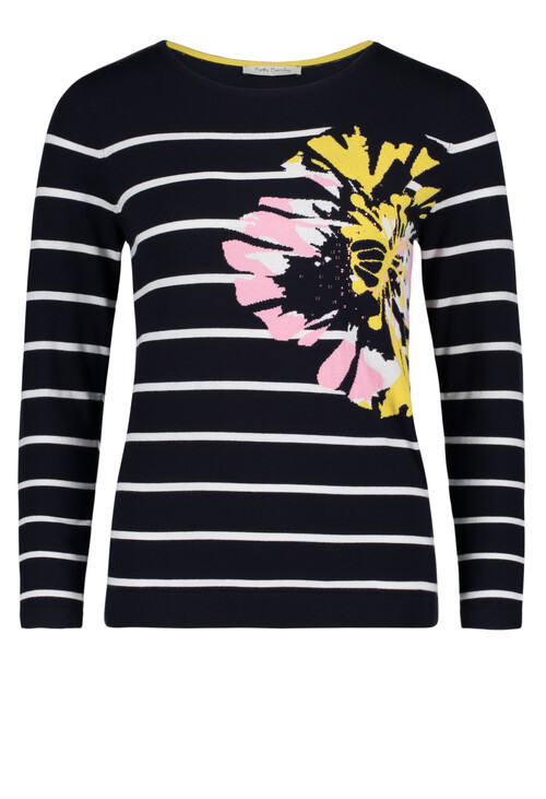 Betty Barclay Black White Stripe Floral Pattern Knit