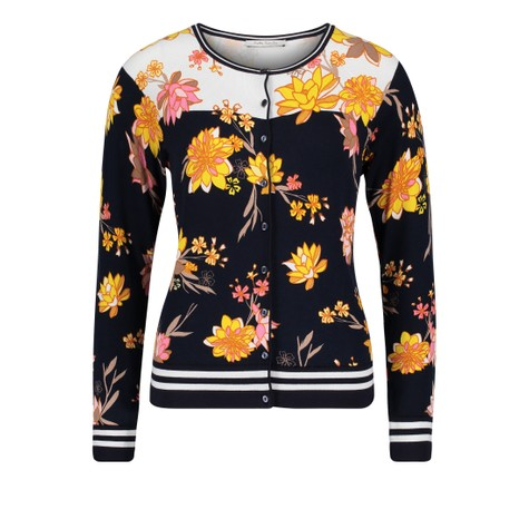 Betty Barclay Black, White & Yellow Floral Button Up Knit