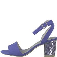 Marco Tozzi Summer Blue Block Heel Ankle Strap Sandal