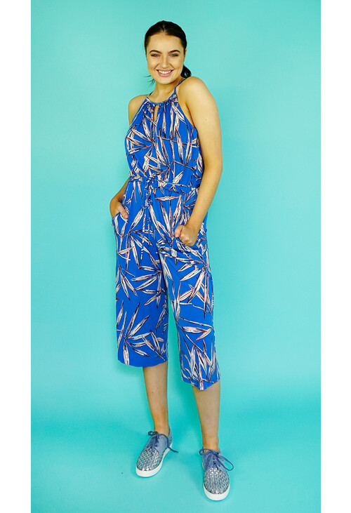 London Times Blue & Orange Crop Jumpsuit