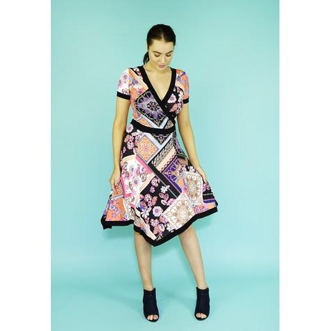 Zapara Coral Scarfe Pattern Design Dress