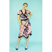 Zapara Coral Scarfe Pattern Design Dress