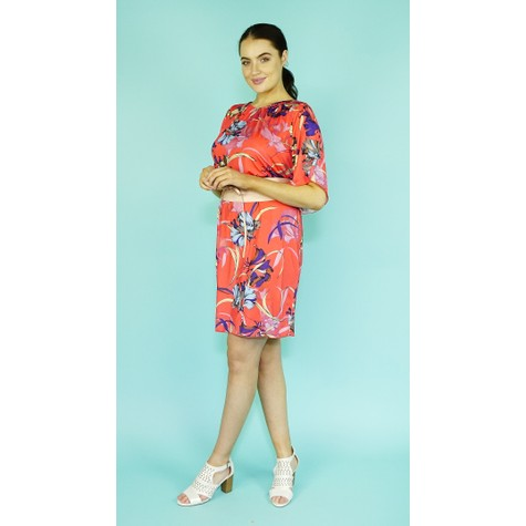 Zapara Coral Flower Print Pattern Dress