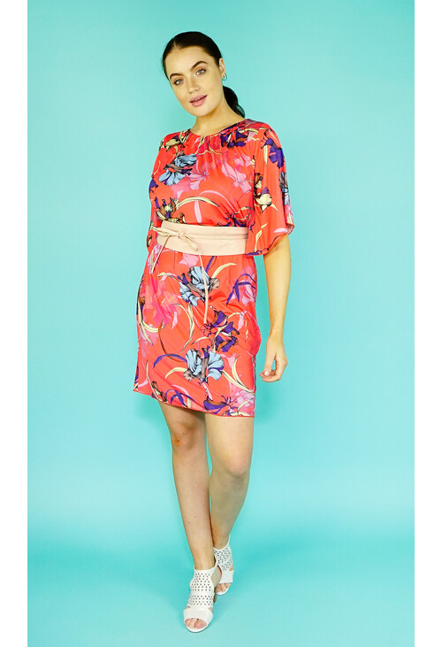 Zapara Coral Flower Print Pattern Dress
