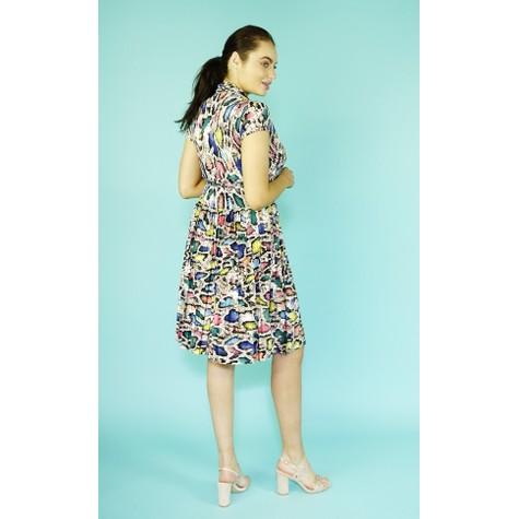 Zapara Pink Snake Print Tie String Dress
