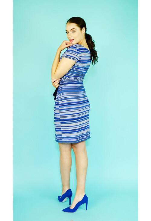 Zapara Royal Blue & White Stripe Dress