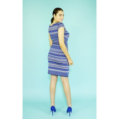 Zapara Royal Blue & White Strip Dress