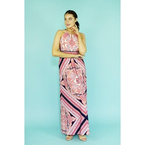 London Times Navy & Coral Paisley Print Long Dress