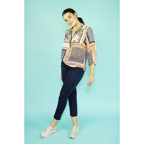 SophieB Cream & Coral Print Light Top