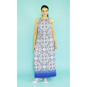 London Times Blue & White Pattern Print Long Dress