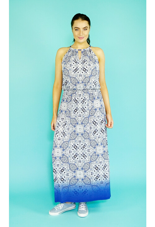 London Times Blue & White Pattern Print Long Dress