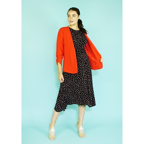 Zapara Red Gathered Sleeve Jacket