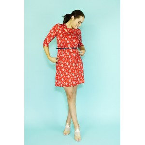 Zapara Red Mille Fleur Pattern Dress