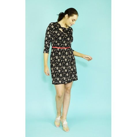 Zapara Black Mille Fleur Pattern Dress