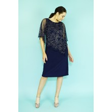 Ronni Nicole Navy Silver Diamante Stud Mesh Cape Dress