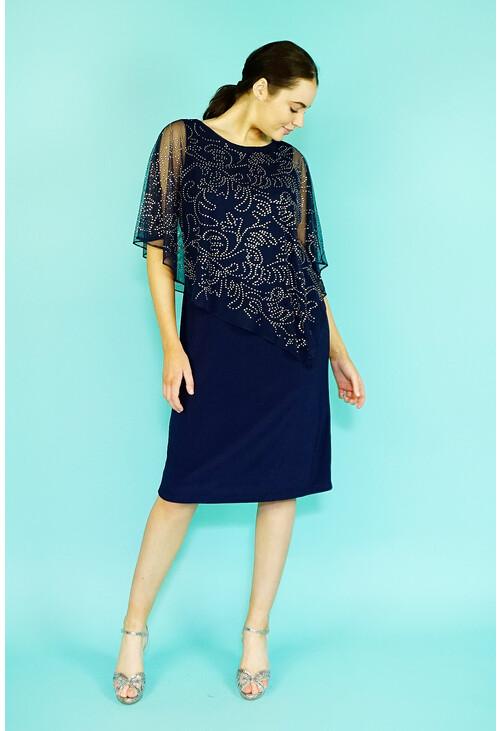 Ronni Nicole Navy Silver Diamante Stud Mesh Cape Dress
