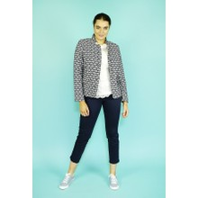 EFRO Cream & Navy Fan Print Crop Jacket