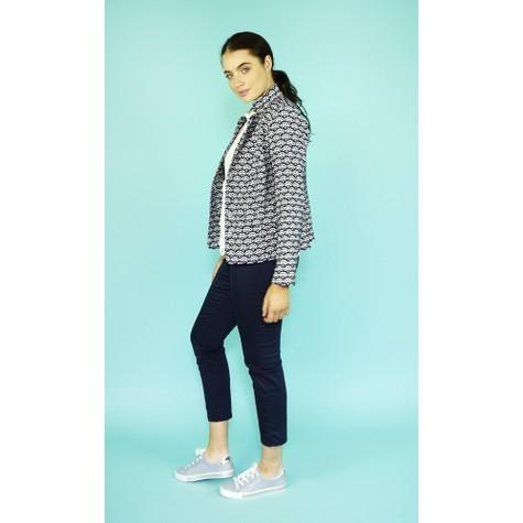EFRO Cream & Navy Fan Print Crop Jacket