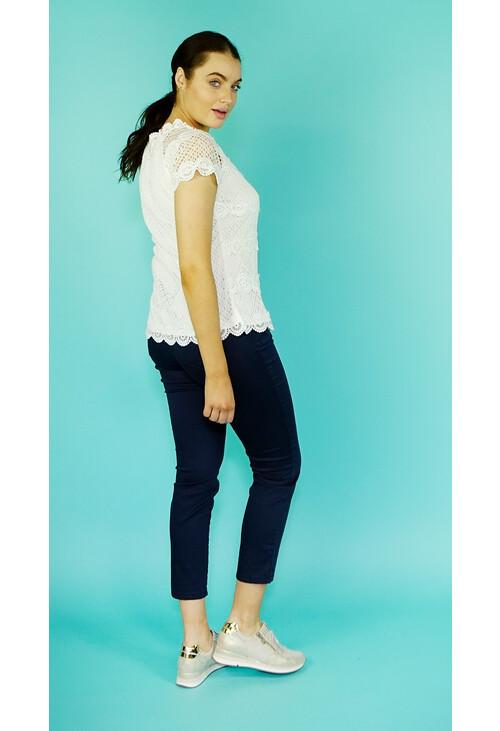 Zapara White Crochet Summer Top