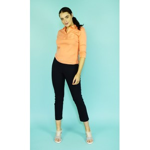 Twist Coral Polo Button Detail Top